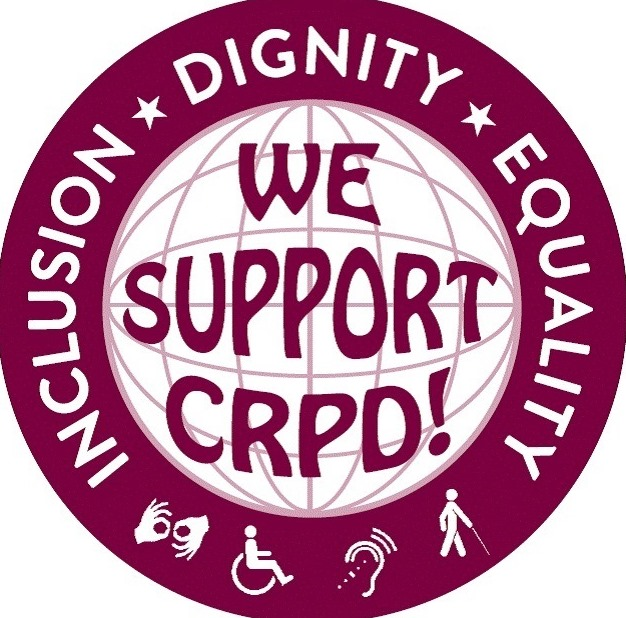 circular CRPD Sticker - with the letters WE SUPPORT CRPD in the center and the words INCLUSION , DIGNITY AND EQUALITY around the outside edge.